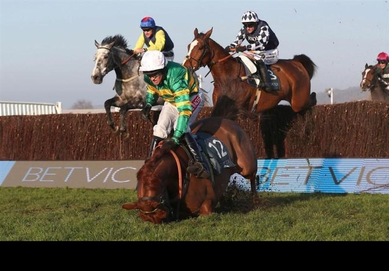 سقوط وحشتناک سوارکار ایرلندی از روی اسب و حادثه ای که بخیر گذشت